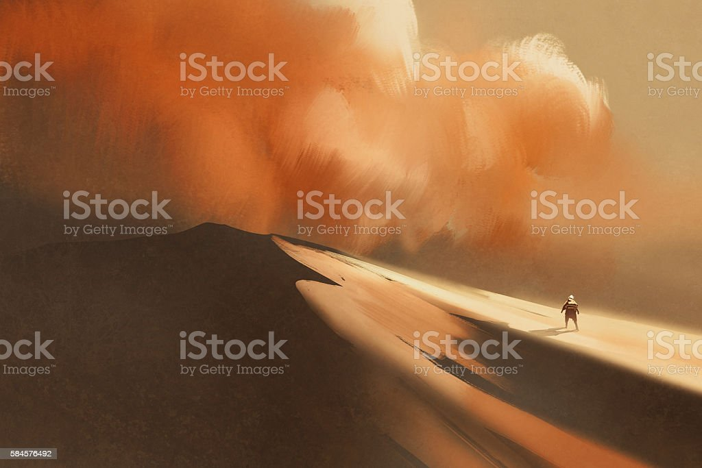 sandstorm in desert and hiking man vector art illustration