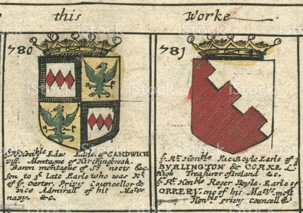 Sandwich and Burlington Coat of arms 17th century vector art illustration