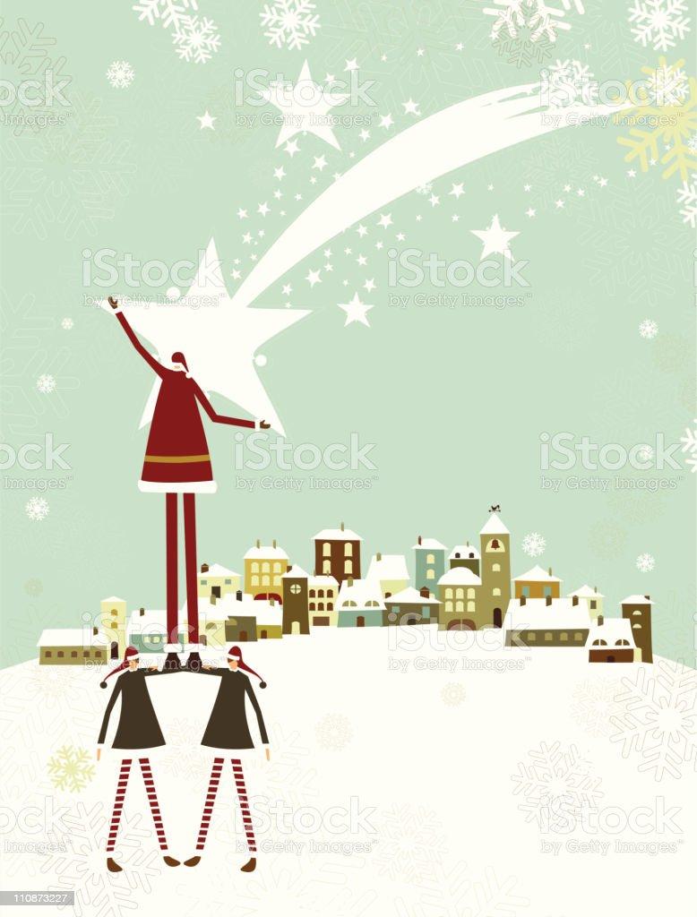 Santa and christmas star vector art illustration