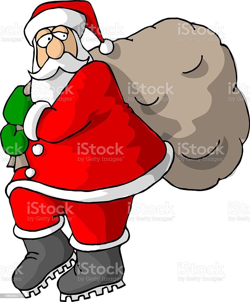 Santa and his bag of goodies royalty-free stock vector art