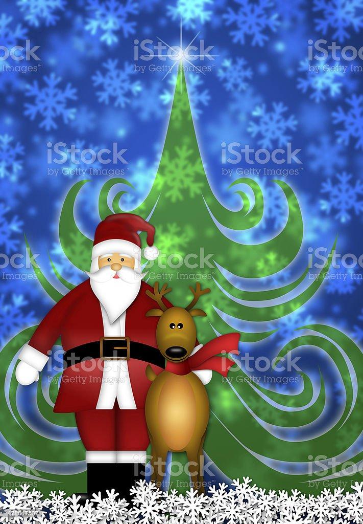 Santa and Reindeer in Winter Snow Scene royalty-free stock vector art