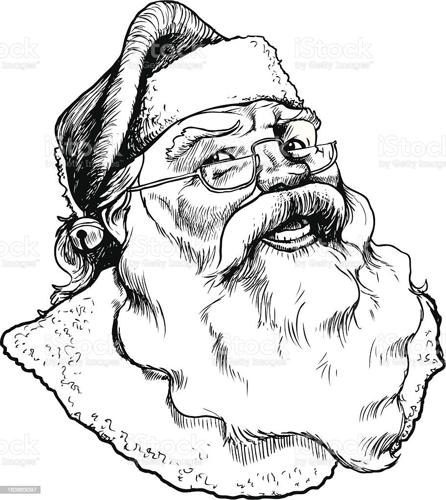 Santa Cartoon Sketch vector art illustration