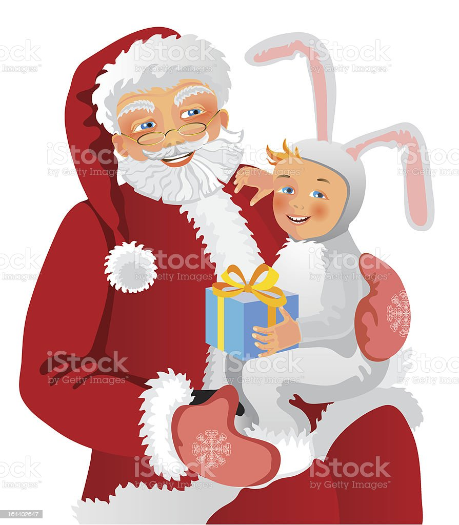 Santa Claus and a boy royalty-free stock vector art