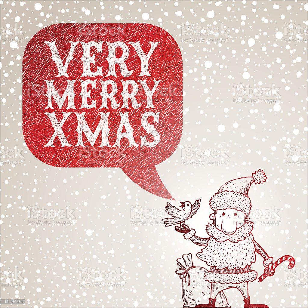Santa Claus and bullfinch congratulates with Christmas royalty-free stock vector art