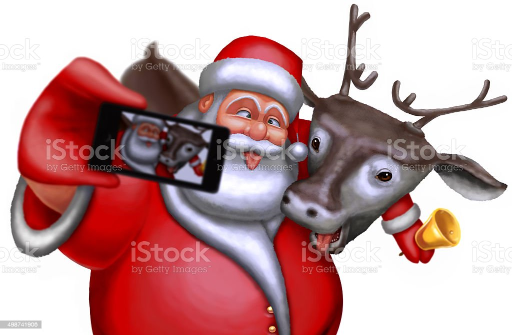 Santa Claus and reindeer are photographed on a smartphone vector art illustration