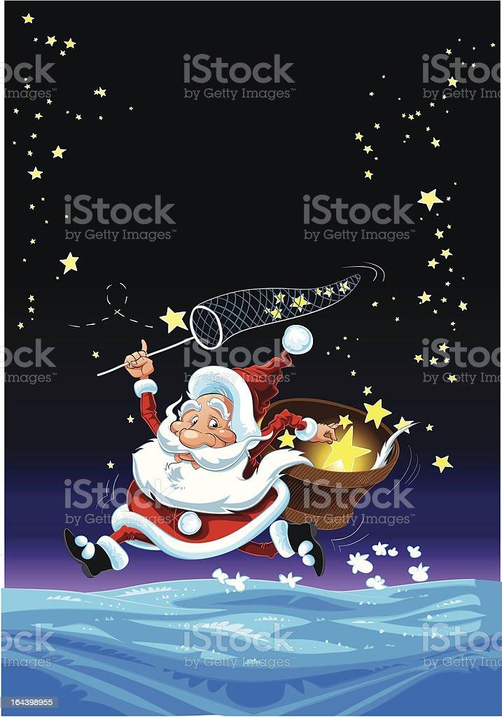 Santa Claus and the Stars royalty-free stock vector art