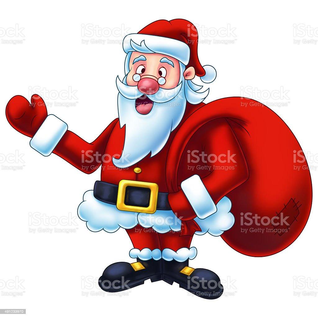 Santa Claus Cartoon Digital Painting vector art illustration