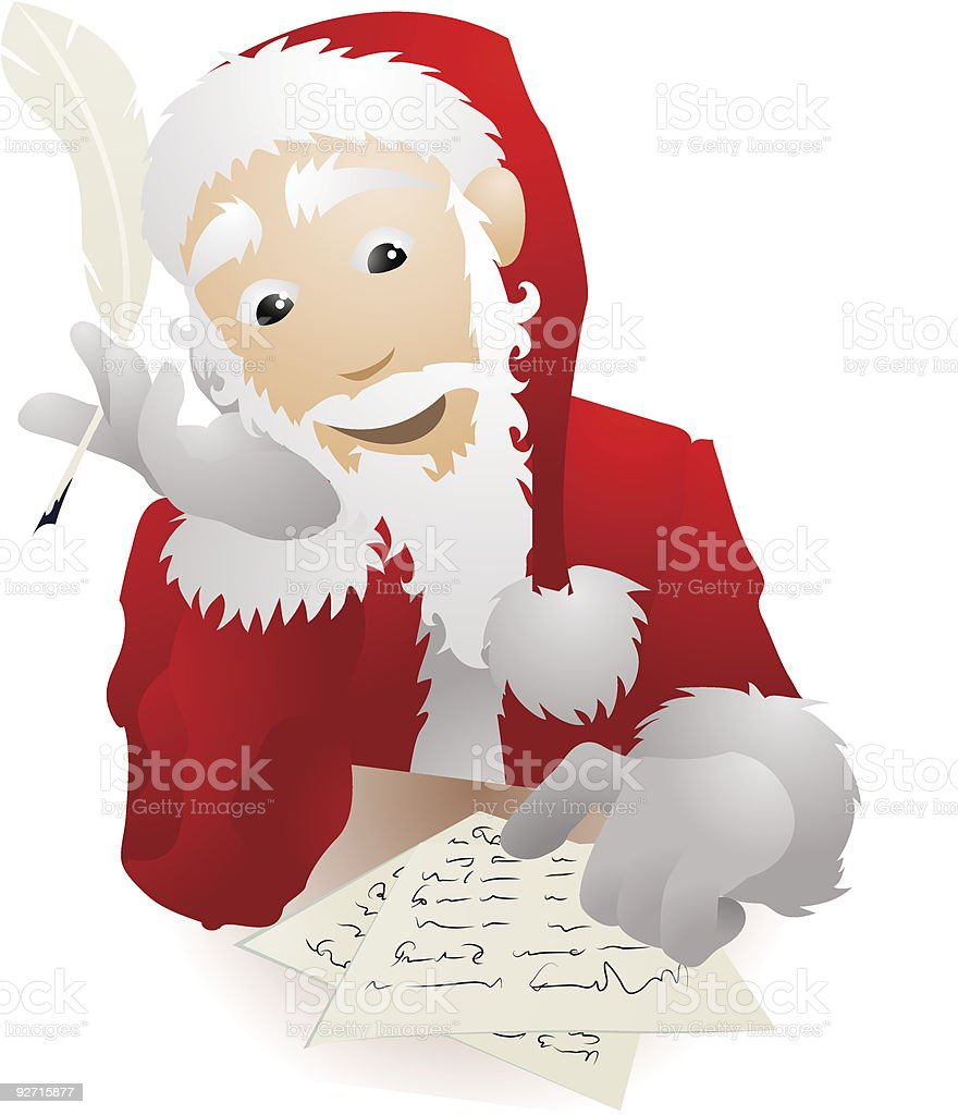 Santa Claus Checking Christmas List or Replying Childrens Letters Illustration vector art illustration