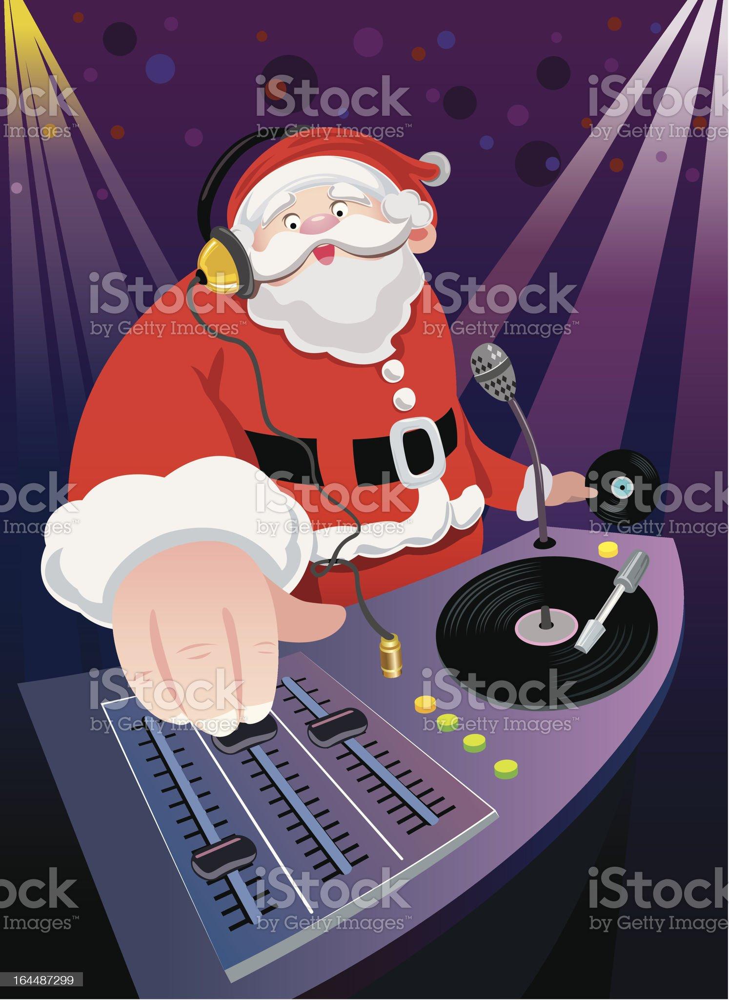 DJ Santa Claus Christmas party royalty-free stock vector art
