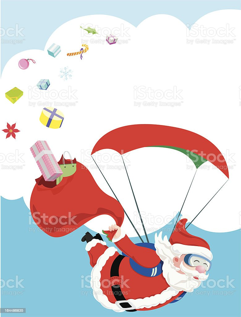 Santa Claus inflight and his broken gift bag royalty-free stock vector art