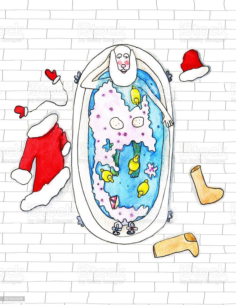 Santa Claus lies in the bathtube  - watercolor illustration vector art illustration