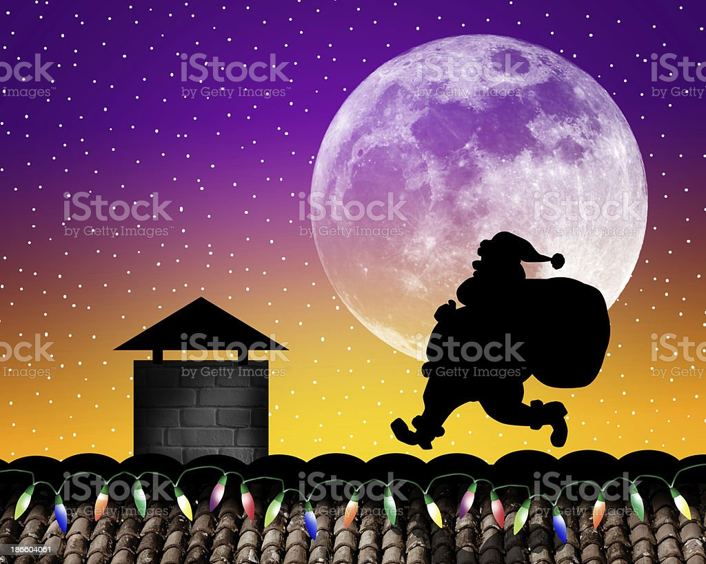 Santa Claus on the roof royalty-free stock vector art