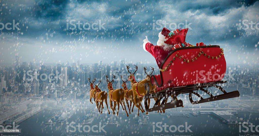 Santa Claus riding on sleigh with gift box against coastline vector art illustration