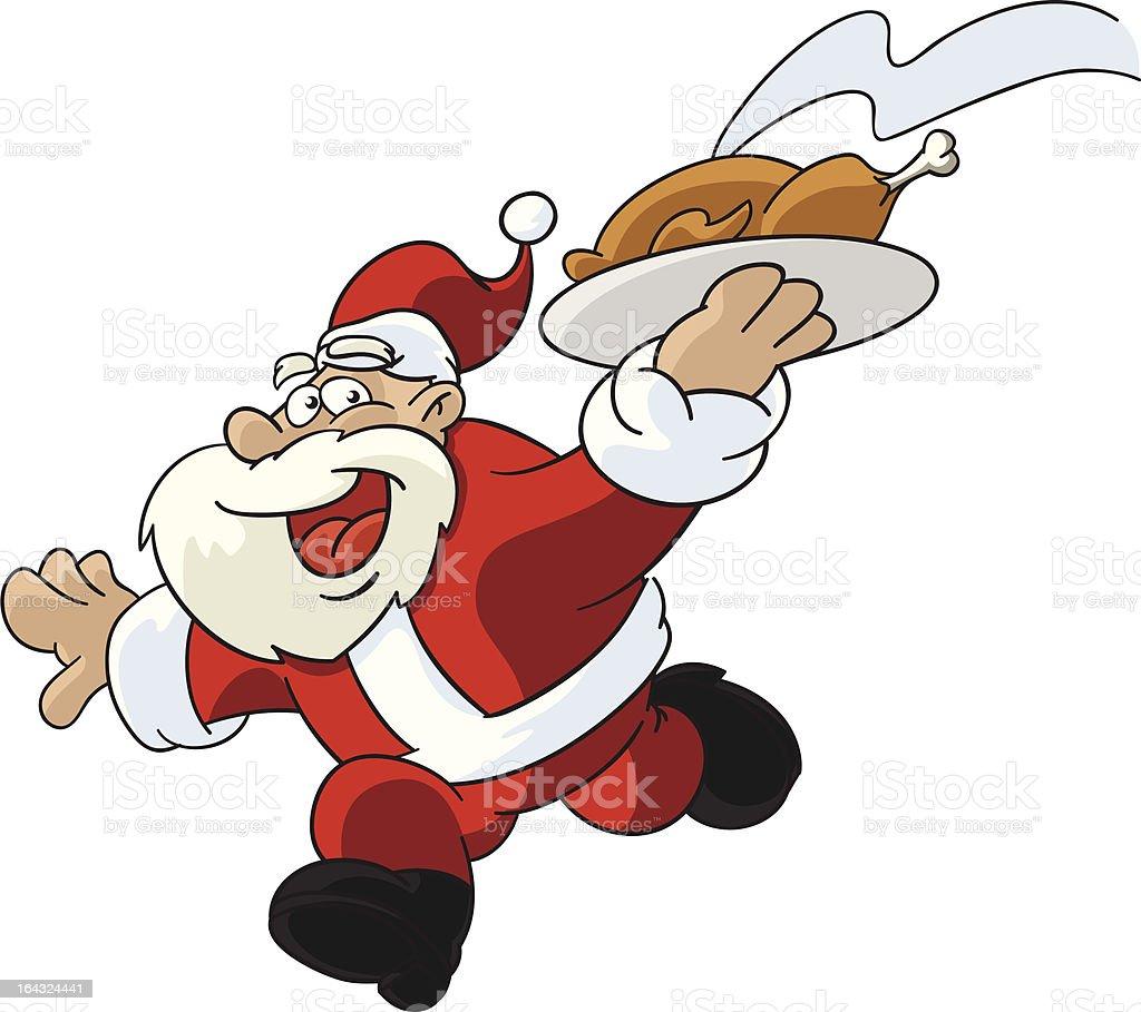 Santa Claus Running With Christmas Dinner vector art illustration