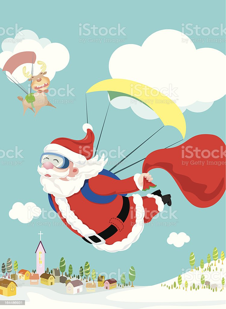 Santa Claus skydiving with his deer and gift delivery royalty-free stock vector art