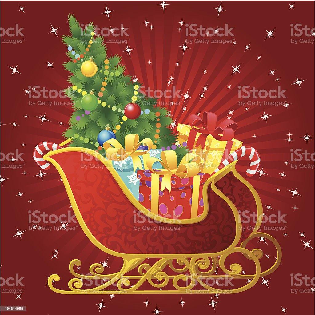 Santa Claus sleigh royalty-free stock vector art