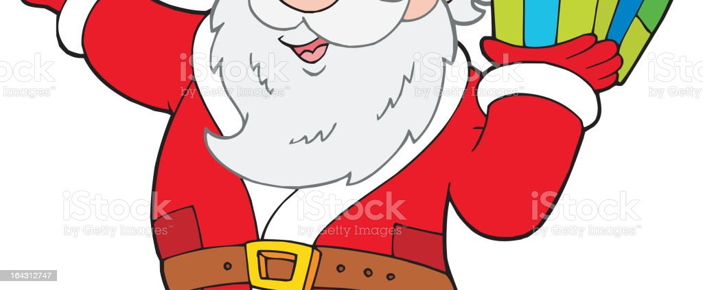 Santa Claus with Christmas gift royalty-free stock vector art