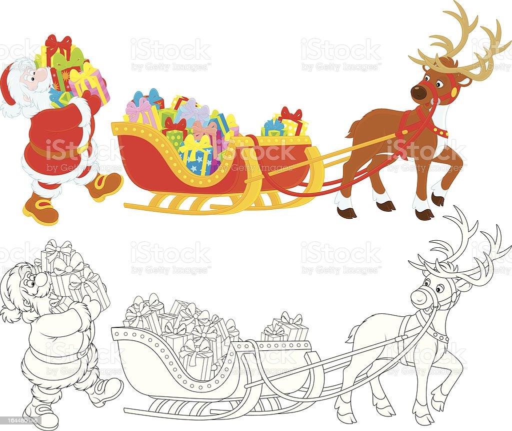Santa Claus with Christmas presents royalty-free stock vector art