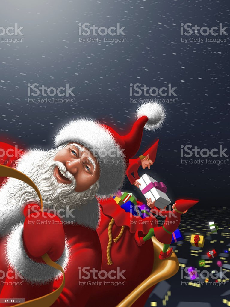 Santa Claus with elves royalty-free stock vector art