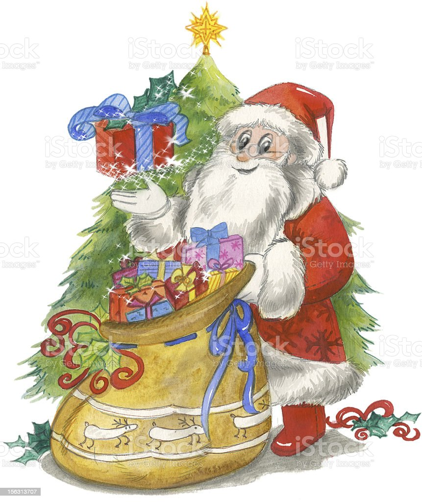 Santa Claus with sack and tree vector art illustration