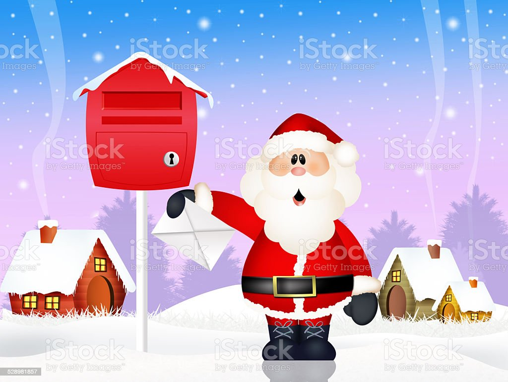 Santa Claus with wishlist vector art illustration
