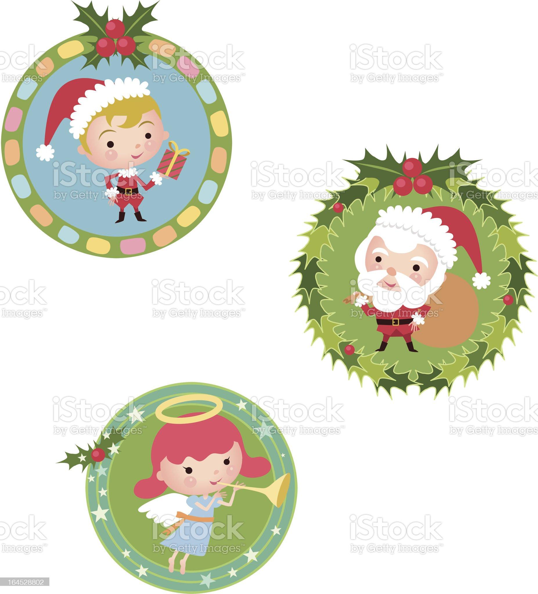 Santa Claus-Christmas wreath royalty-free stock vector art