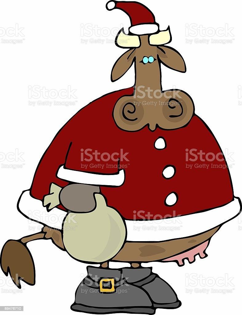 Santa Cow vector art illustration