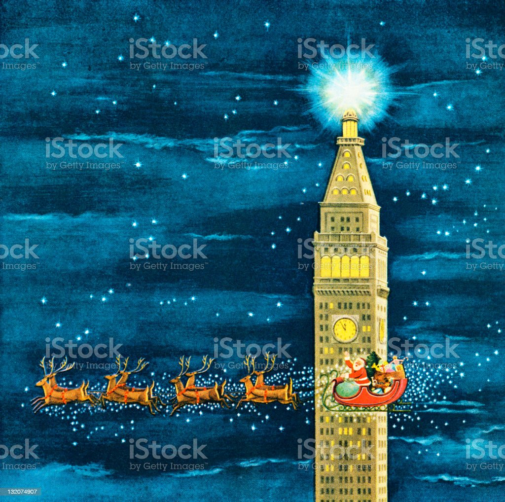 Santa Flying Past Clock Tower royalty-free stock vector art