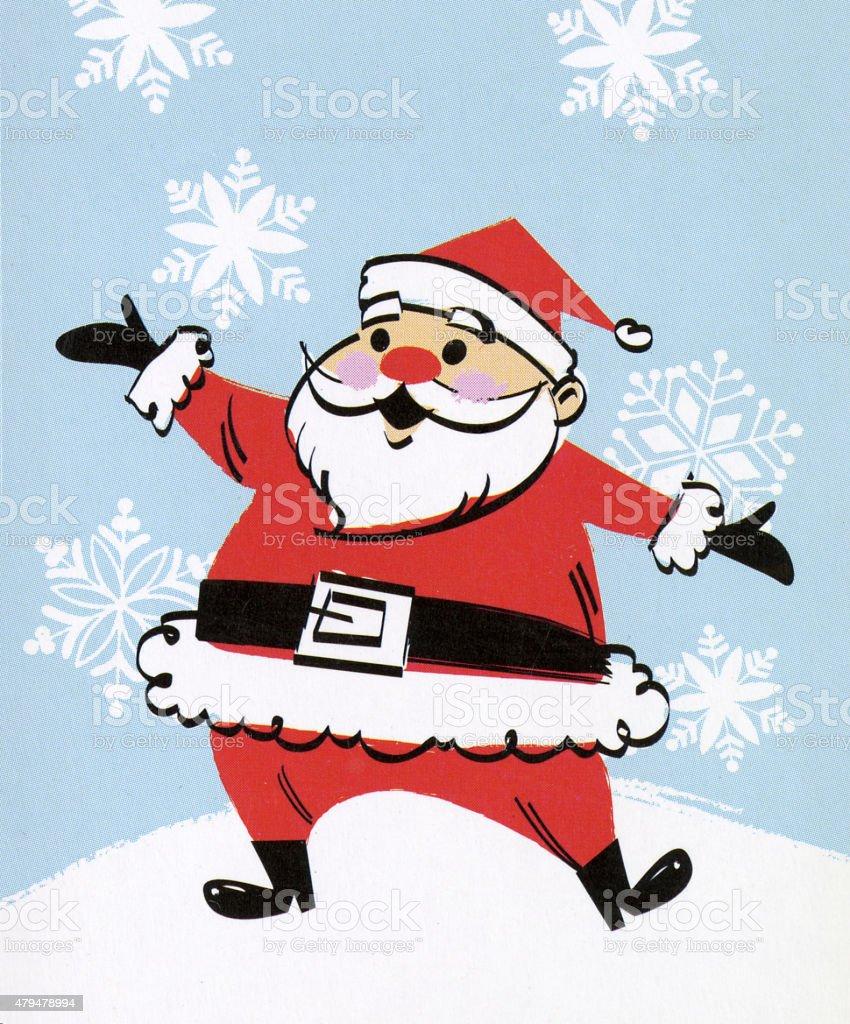 Santa Gesturing vector art illustration