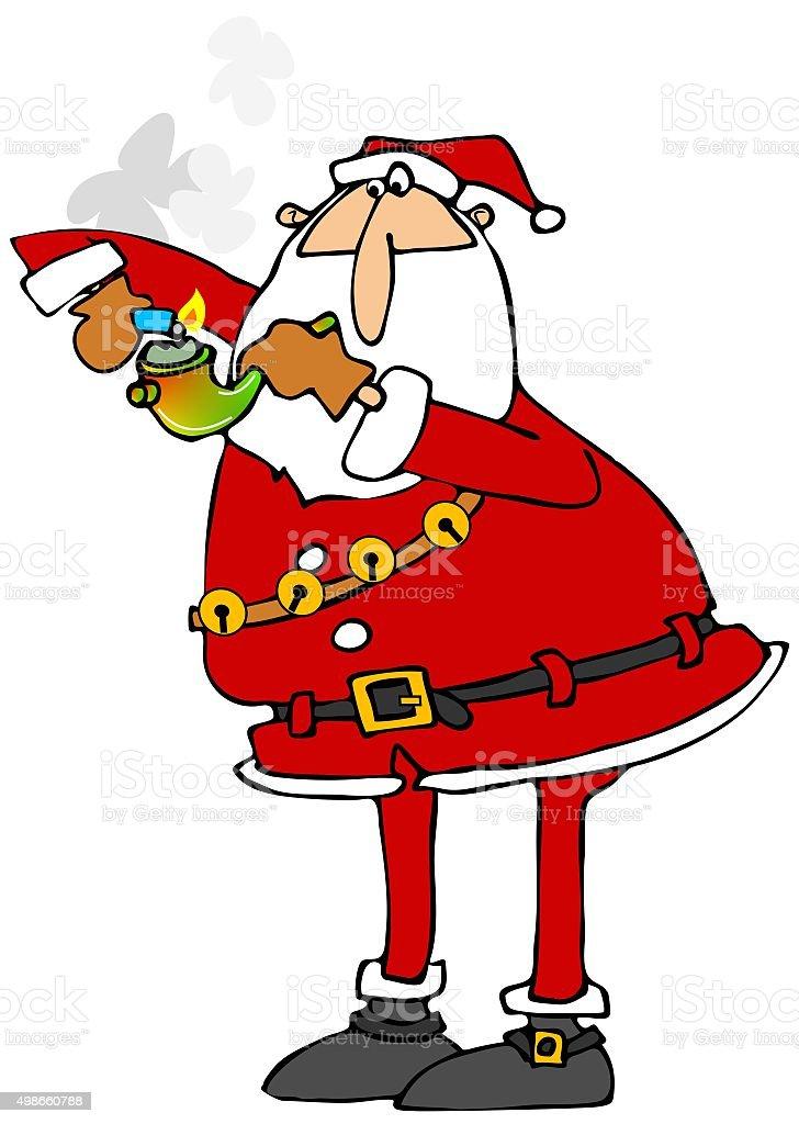 Santa lighting his pot pipe vector art illustration
