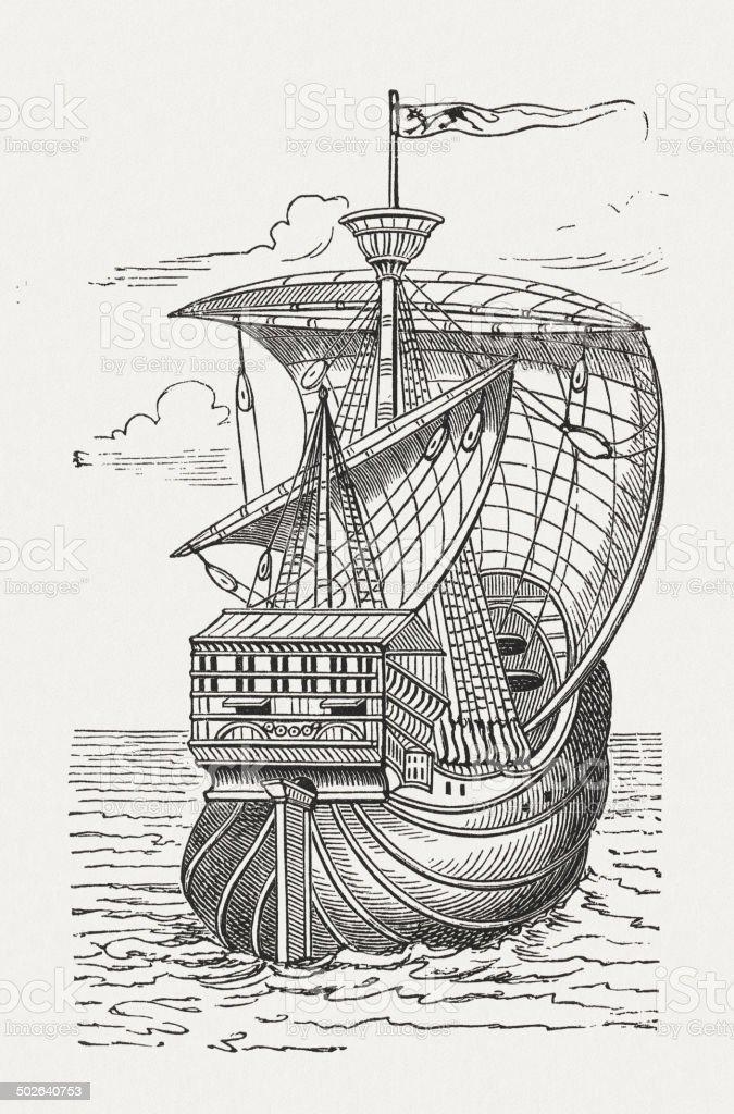 Santa Maria, the flagship of Christopher Columbus vector art illustration