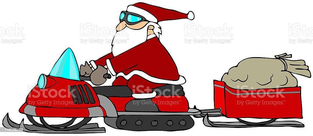 Santa On A Snowmobile royalty-free stock vector art