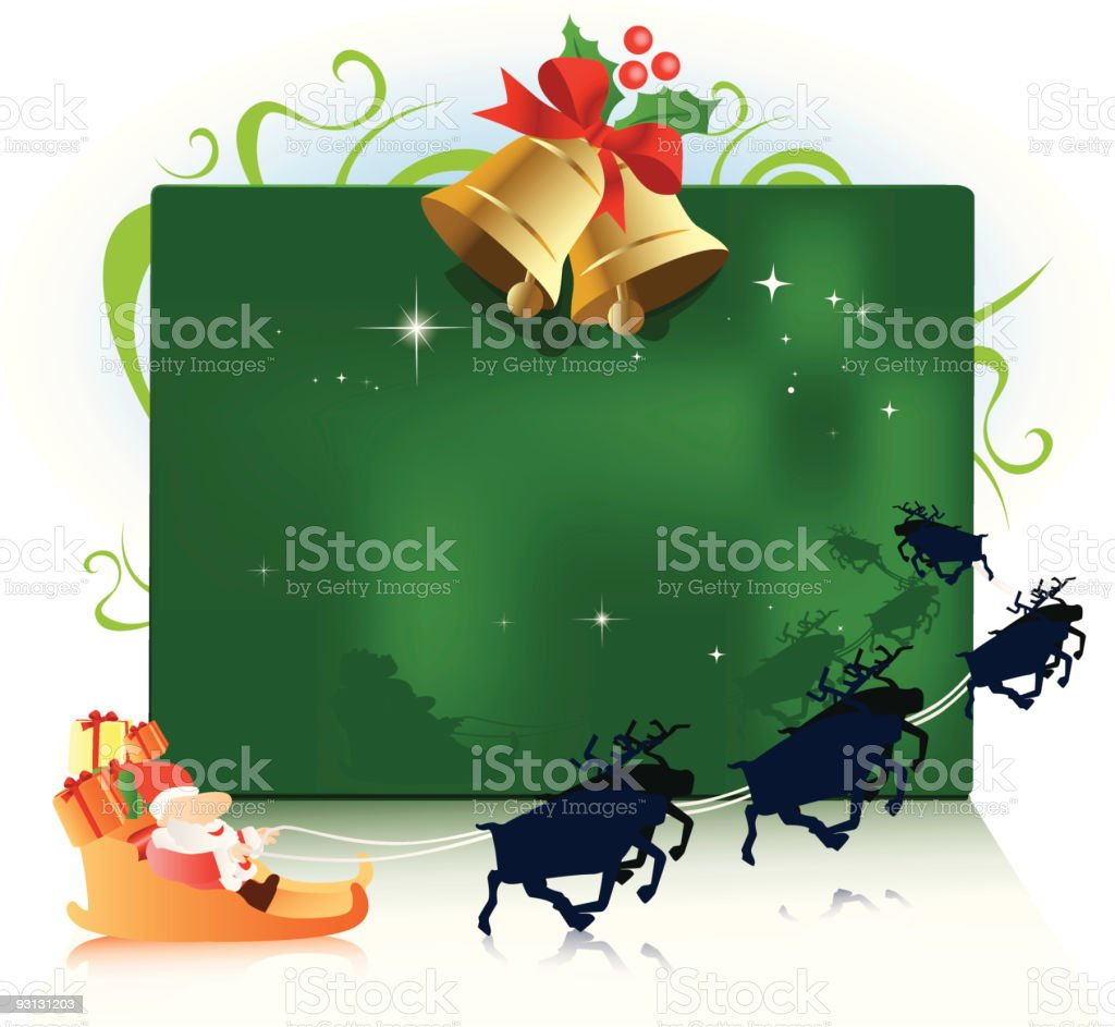 Santa on his sleigh with reindeer and gold bell royalty-free stock vector art