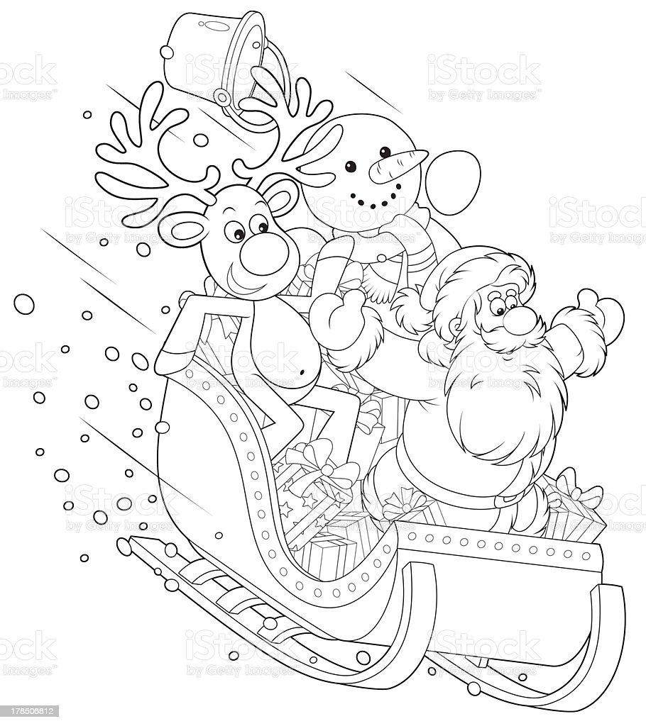 Santa, Reindeer and Snowman in a sleigh royalty-free stock vector art