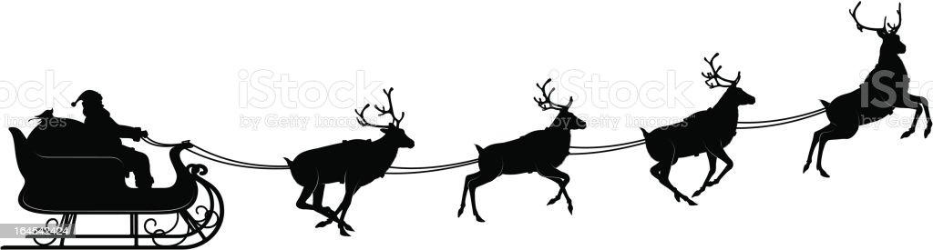 Santa sleigh and reindeers royalty-free stock vector art