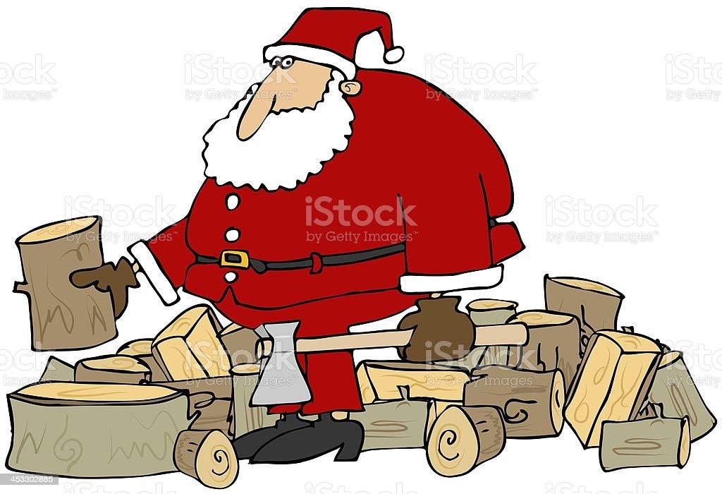 Santa splitting logs vector art illustration