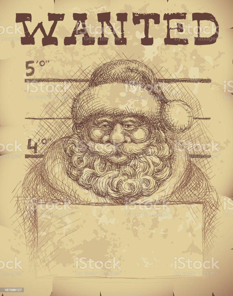 Santa wanted vector art illustration