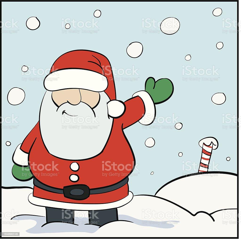 Santa Waving vector art illustration
