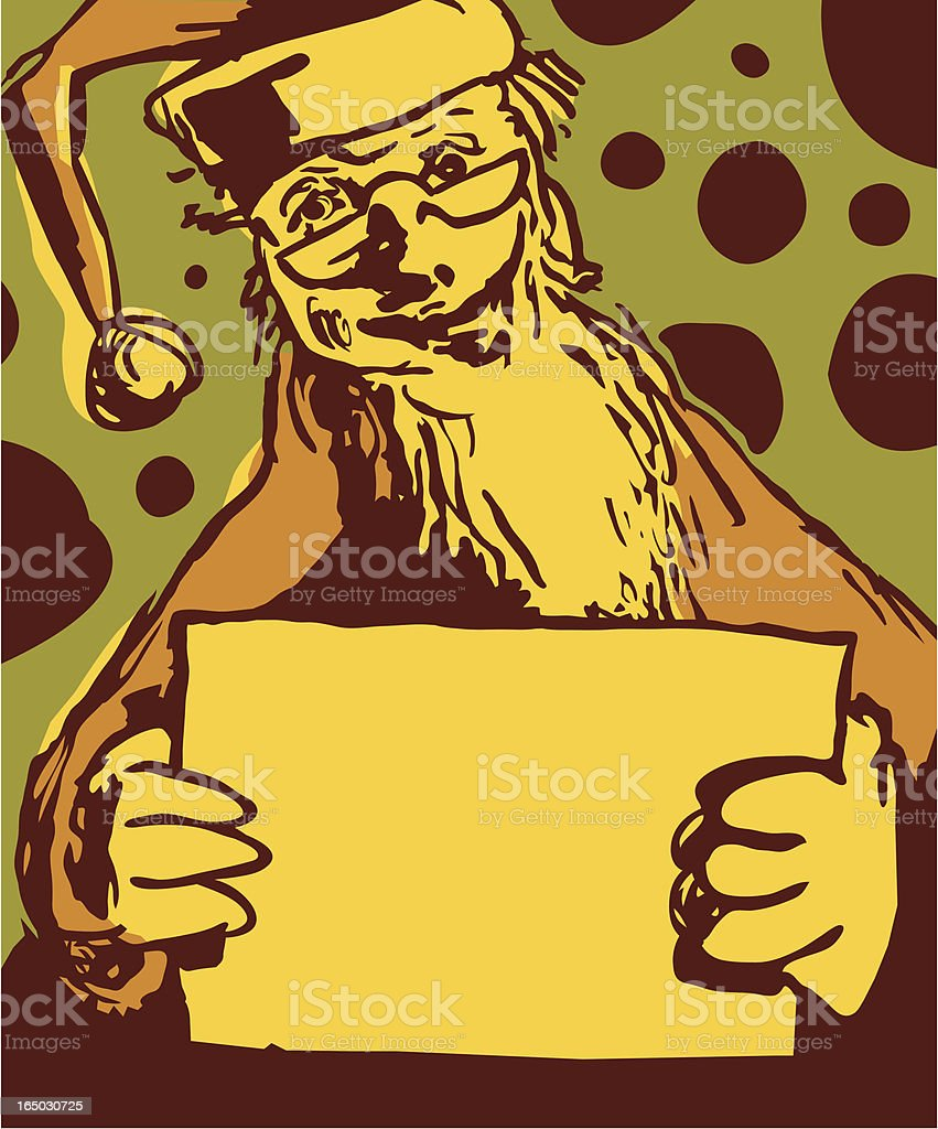 santa with a sign vector art illustration