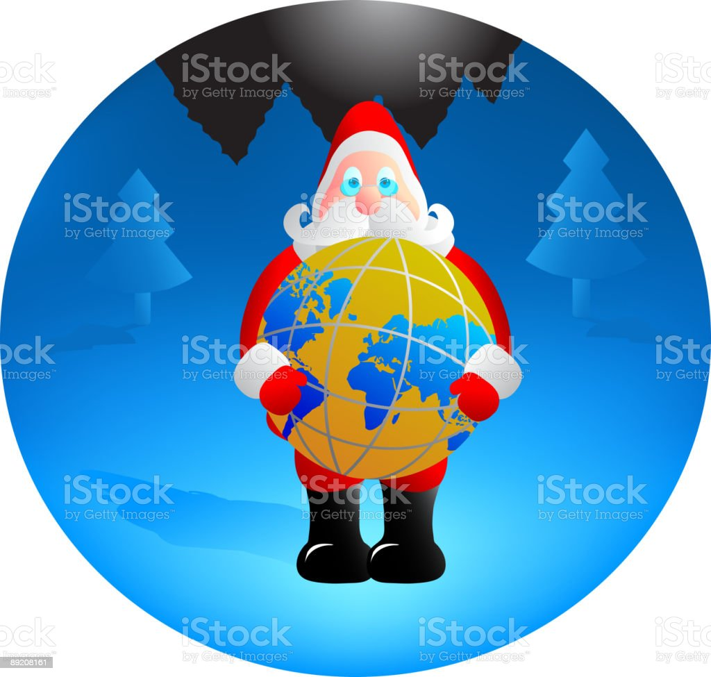 Santa with globe royalty-free stock vector art