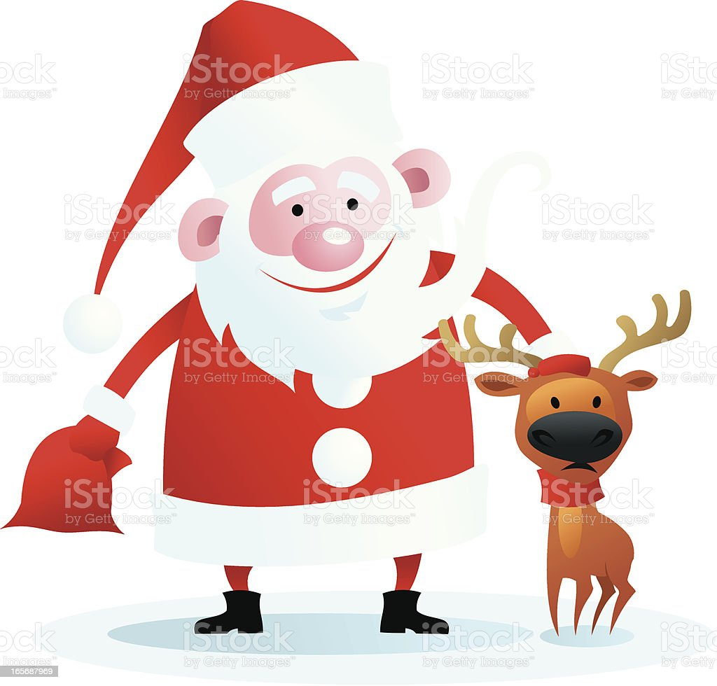 Santa with small deer royalty-free stock vector art