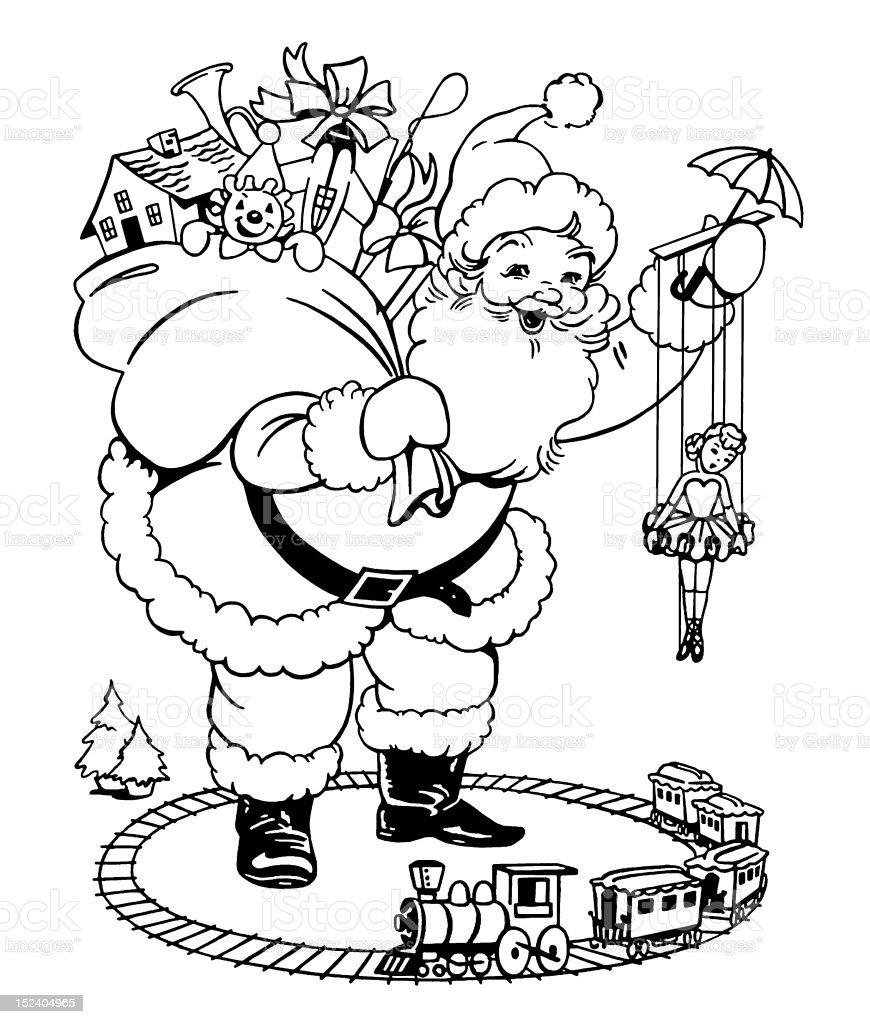 Santa With Toys royalty-free stock vector art