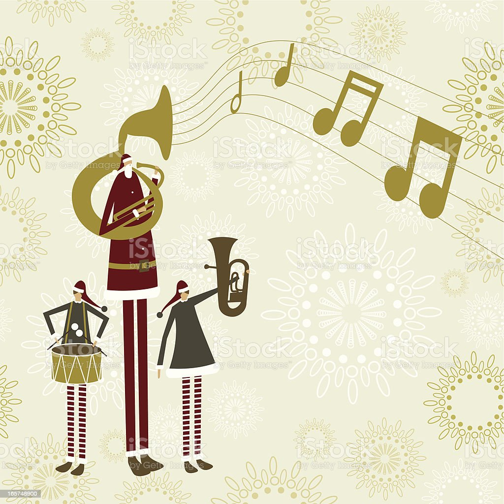Santa's christmas band vector art illustration