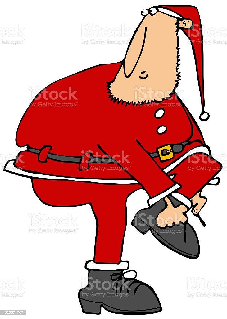 Santa's helper putting on his boots vector art illustration