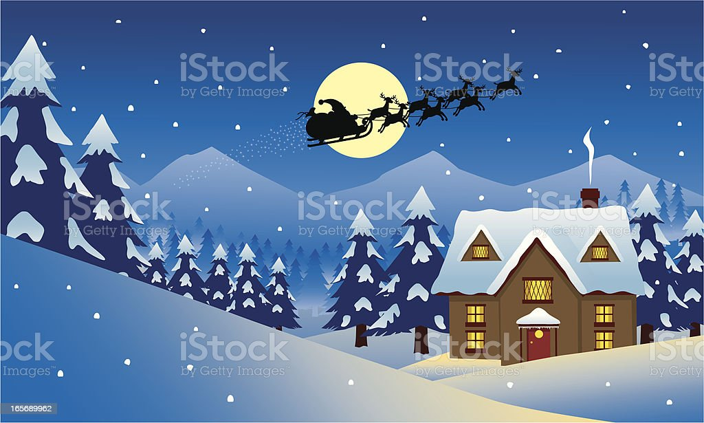 Santa's House vector art illustration