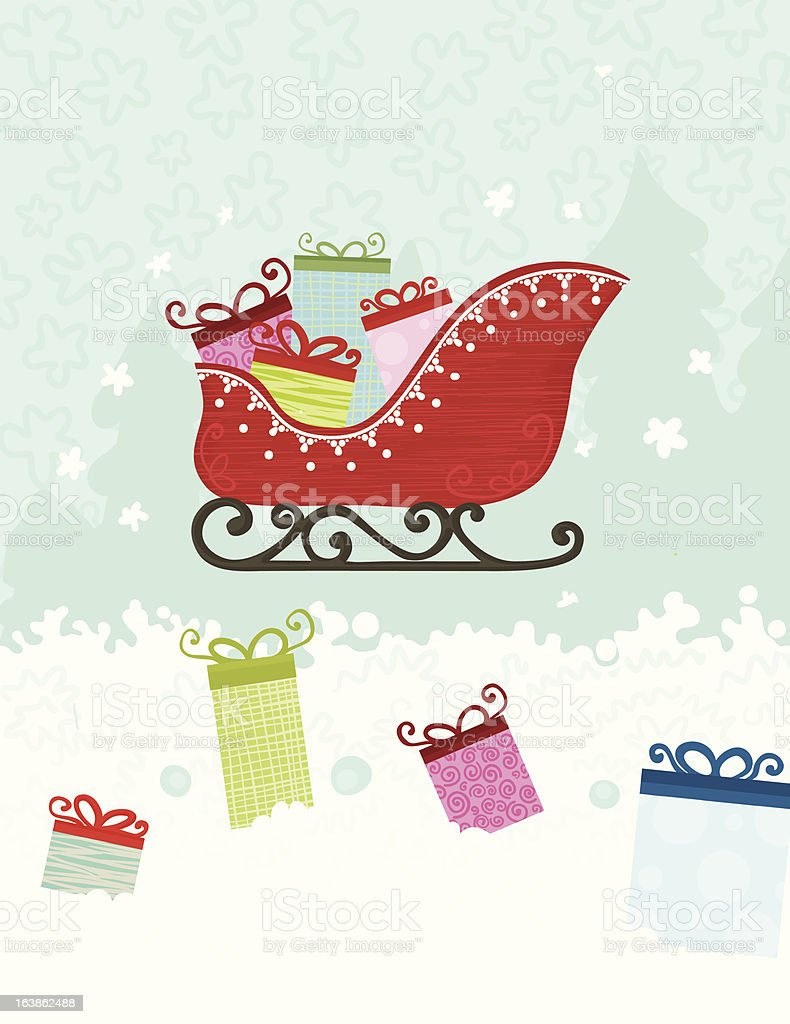 Santa's sled filled with presents royalty-free stock vector art