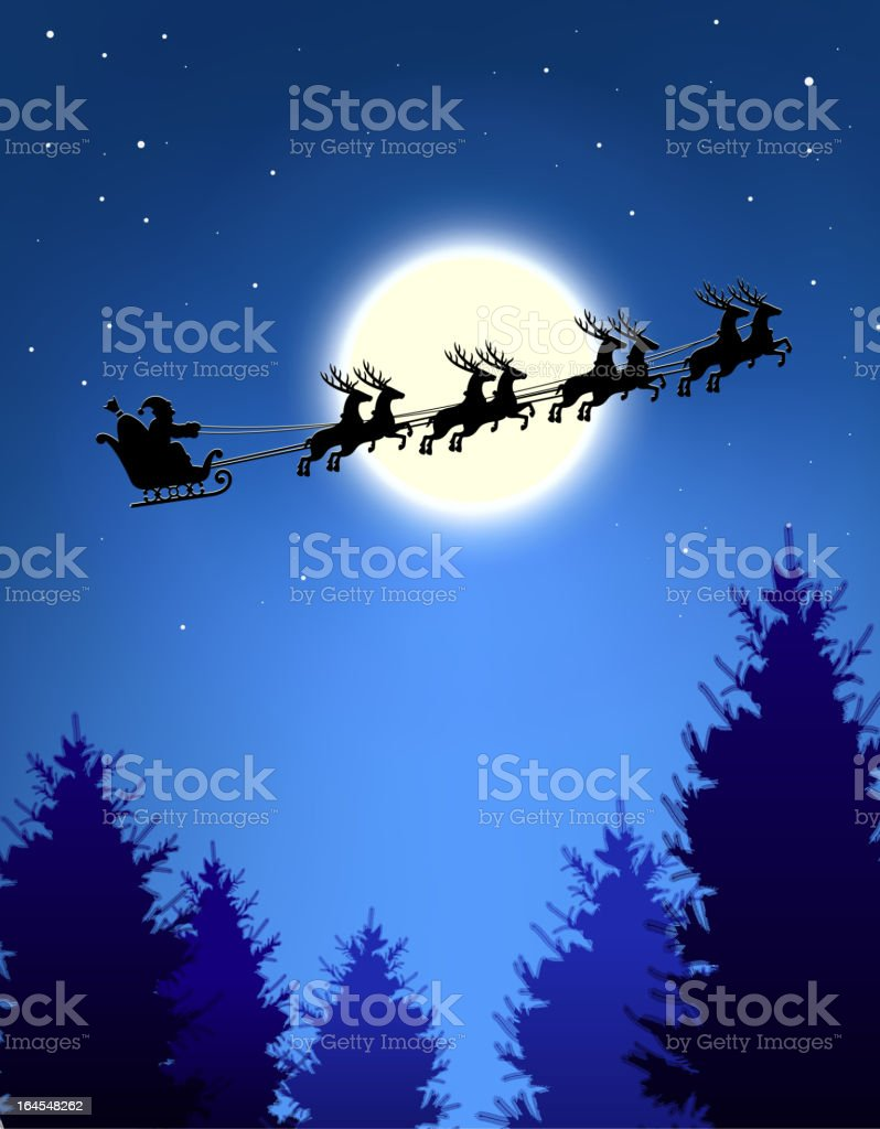 Santa's sleigh over Christmas trees. royalty-free stock vector art