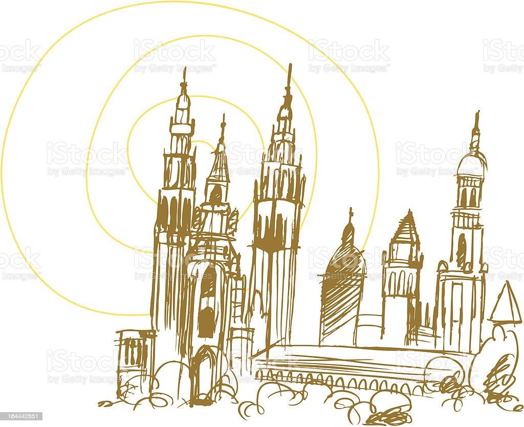 Santiago de Compostela Cathedral royalty-free stock vector art