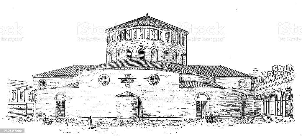 Santo Stefano Rotondo Basilica ,Rome vector art illustration