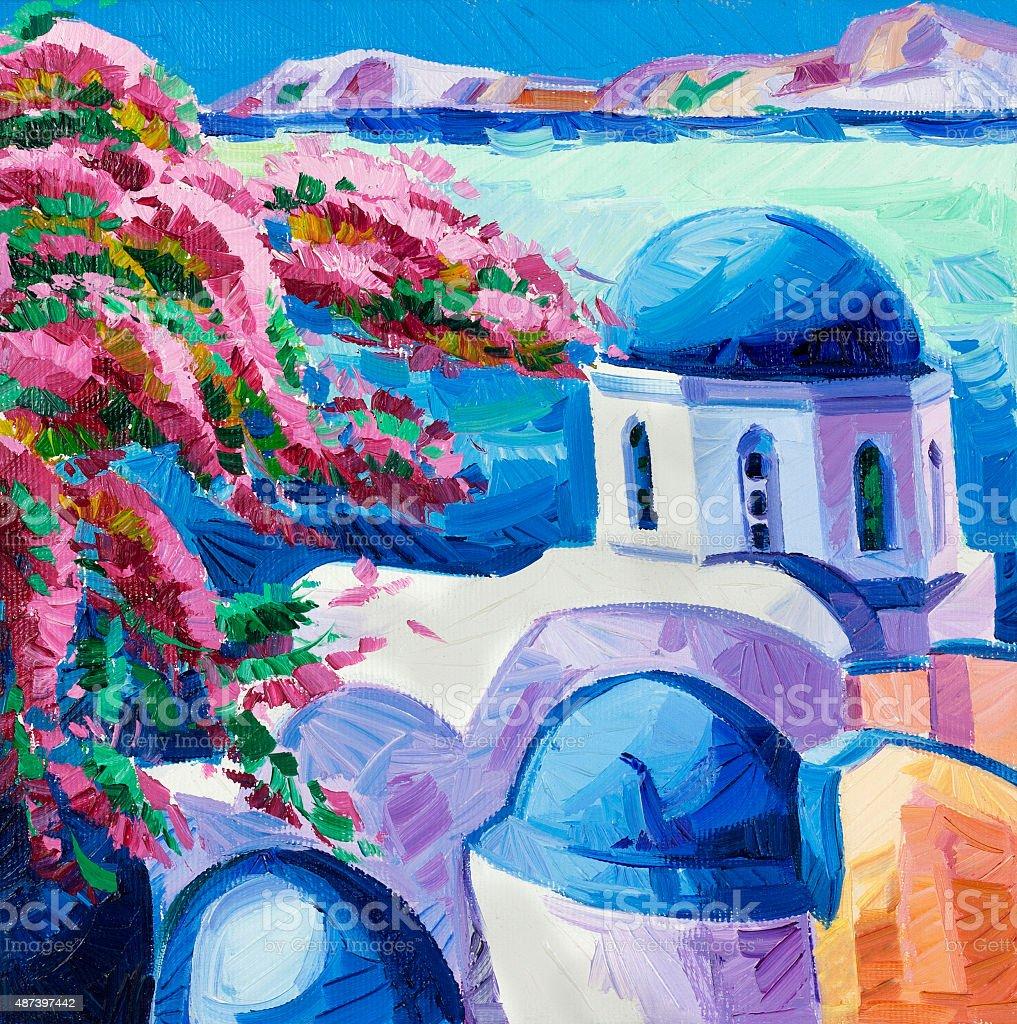 Santorini churches vector art illustration